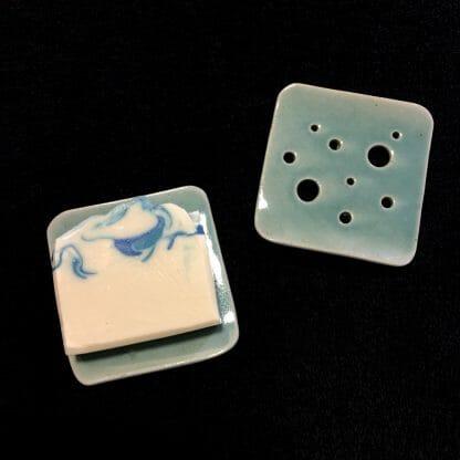 Aqua Square Ceramic Soap Dish
