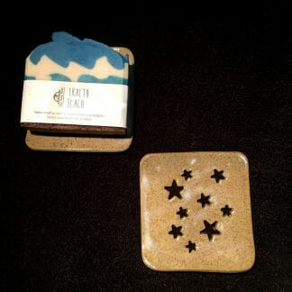 Sand coloured soap dish - stars