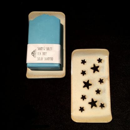 Rectangular grey soap dish - stars
